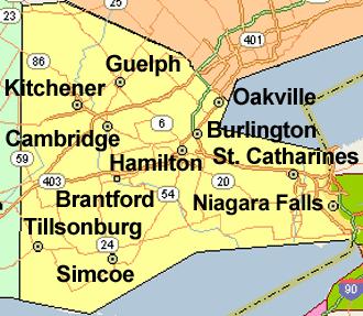 Omni Basement Systems' Service Area - Hamilton, Ontario